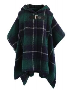 Cozy Tribe Check Hooded Wool-Blend Cape in Green