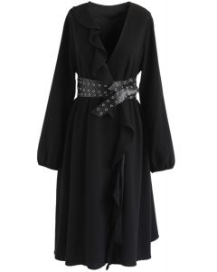 So Trendy Ruffle Coat Dress in Black