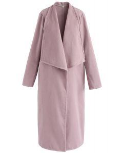 Simple Allure Open Front Wool-Blend Longline Coat in Nude Pink