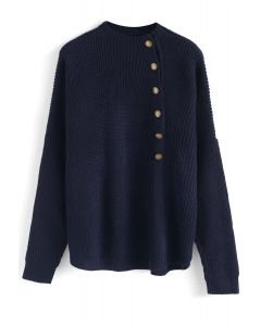 Button Up and Down Knit Sweater in Navy