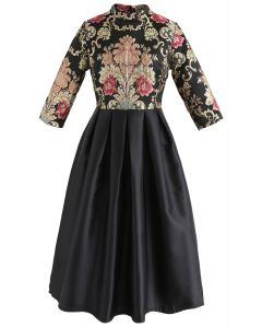 Splendid Baroque Embroidered Jacquard Dress in Black