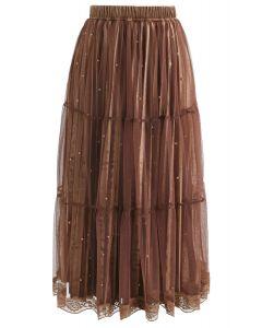 Bouncing Beads Velvet Mesh Skirt in Brown