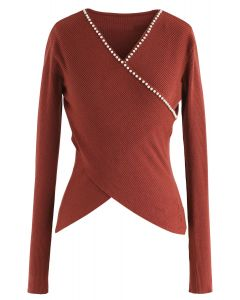 Pearls Lover Wrapped Knit Top in Berry