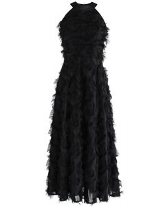 Dancing Feathers Tassel Halter Neck Maxi Dress in Black