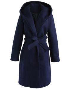 Cozy Trip Hooded Open Front Longline Coat in Navy