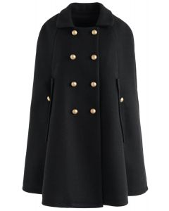 Keep It Elegant Double-Breasted Cape Coat in Black