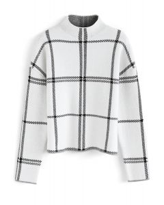 Snug Contract Grid Knit Sweater in White