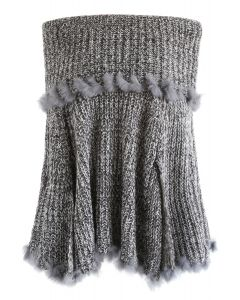 Stylish Tribe Off-Shoulder Knit Cape in Grey