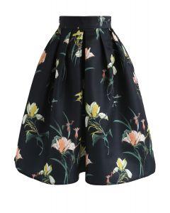 Wild Lily Printed Midi Skirt in Black