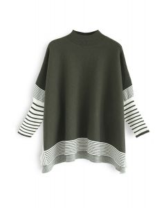 Lie in Olive Fields Striped Oversize Knit Cape Sweater