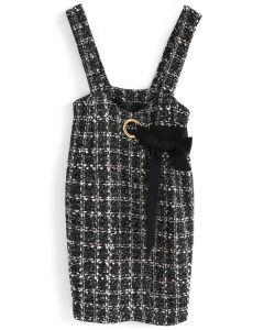 Modern Picks Tweed Pinafore Dress in Black