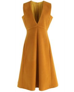 Demure V-Neck Sleeveless Dress in Tan