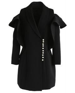 Shining Pearls V-Neck Cold-Shoulder Coat Dress in Black