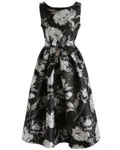 Dahlia Blossom Jacquard Prom Dress in Silver