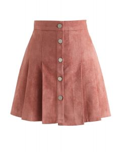 Catch Your Eyes Faux Suede Pleated Skirt in Pink