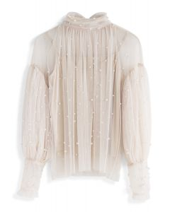 Surely Sweet Pearls Mesh Top in Cream