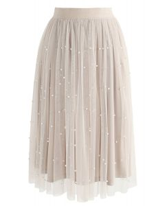 Surely Sweet Pearls Mesh Skirt in Cream