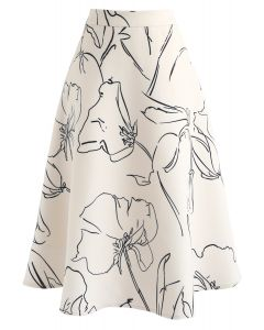 Drawing Blossom A-Line Midi Skirt in Cream