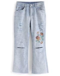 Floral Cross-Stitch Ripped Cropped Flare-Leg Jeans