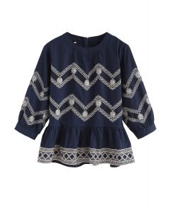 Boho Zigzag Embroidered Peplum Top in Navy