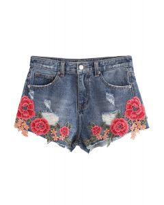 Showy Peony Embroidered Denim Shorts