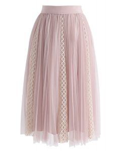 Amiable Lace Tulle Mesh Skirt in Pink