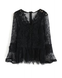 Remarkable Full Lace Peplum Top in Black