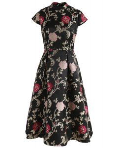 Marvelous Rose Embroidered Jacquard Dress in Black