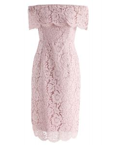 Flourishing Blooms Lace Off-Shoulder Dress in Pink