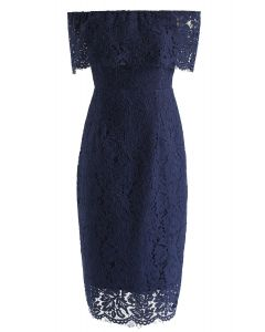Flourishing Blooms Lace Off-Shoulder Dress in Royal Blue
