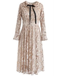 My Fair Lady Full Lace Midi Dress in Tan