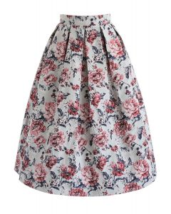 Peony Renaissance Jacquard Midi Skirt