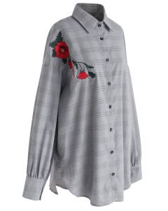 Check Whim Floral Embroidered Oversize Shirt