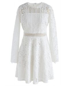Garden Party Floral Crochet Dress in White