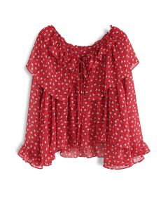 Passionate Peaches Chiffon Dolly Top in Red