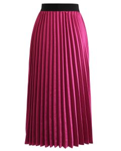 Silky Glam Pleated A-line Skirt in Violet