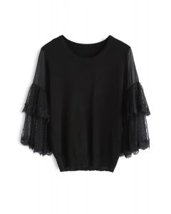 Unstoppable Cuteness Tiered Sleeves Knit Top in Black