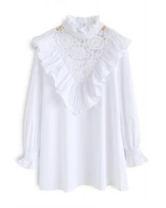 Close To Love Ruffle Crochet Tunic in White
