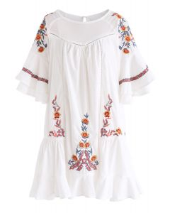 Flawless Boho Floral Embroidered Ruffle Dress