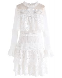 Sweet Destiny Tiered Crochet Mesh Dress in White