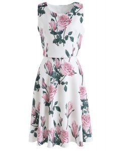 Dreaming of Pink Rose Crop Top and Skirt Set