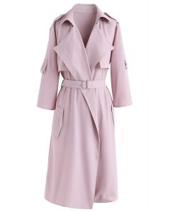 City Of Dreams Mid-Sleeve Chiffon Trench Coat in Pink