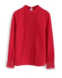 Understated Crochet Top in Red