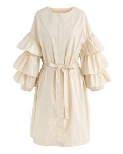 Beneath the Waves Tiered Ruffle Sleeves Coat Dress in Cream