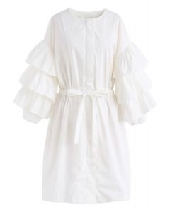 Beneath the Waves Tiered Ruffle Sleeves Coat Dress in White