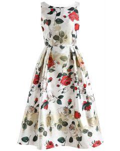 Vivid Rose Printed Prom Dress in White