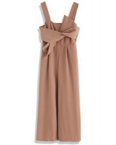 Gracefulness Bowknot Jumpsuit in Caramel