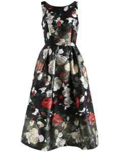 Vivid Rose Printed Prom Dress in Black