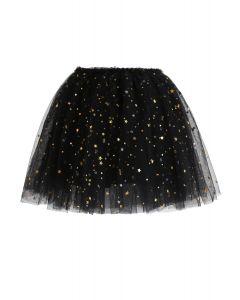 Flickering Star Mesh Tulle Skirt in Black For Kids