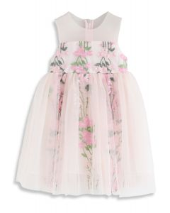 Little Darling Sleeveless Embroidered Mesh Dress in Pink For Kids